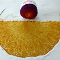 On the Needles! Tequila Sunrise shawl