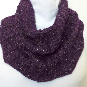 Purple Tweed Aran-knit cowl.